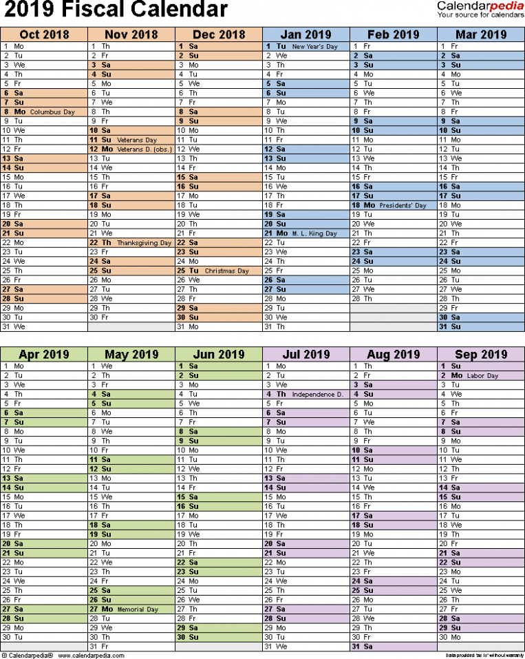 Fiscal calendars 19 as free printable Excel templates - Year Calendar 2019