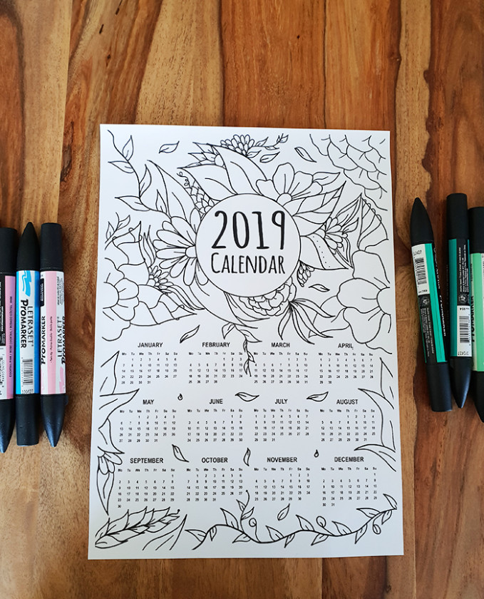 FREE 17 Calendar Adult Coloring Page Instant Digital Download - 2019 Calendar Coloring Pages