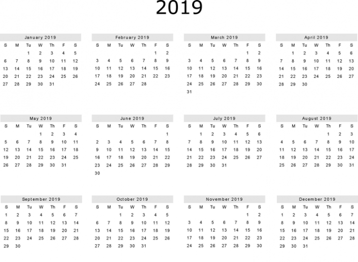Free 18 Yearly One Page Calendar Printable   December 18 ..