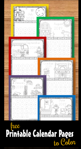 FREE 19-19 Printable Calendar to Color – Kindergarten Worksheets ...