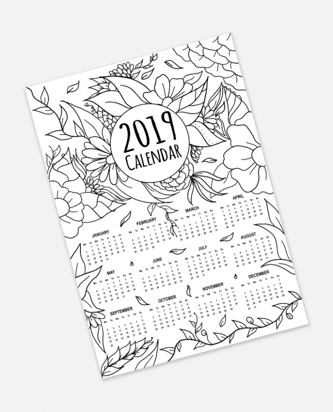 FREE 19 Calendar Adult Coloring Page Instant Digital Download