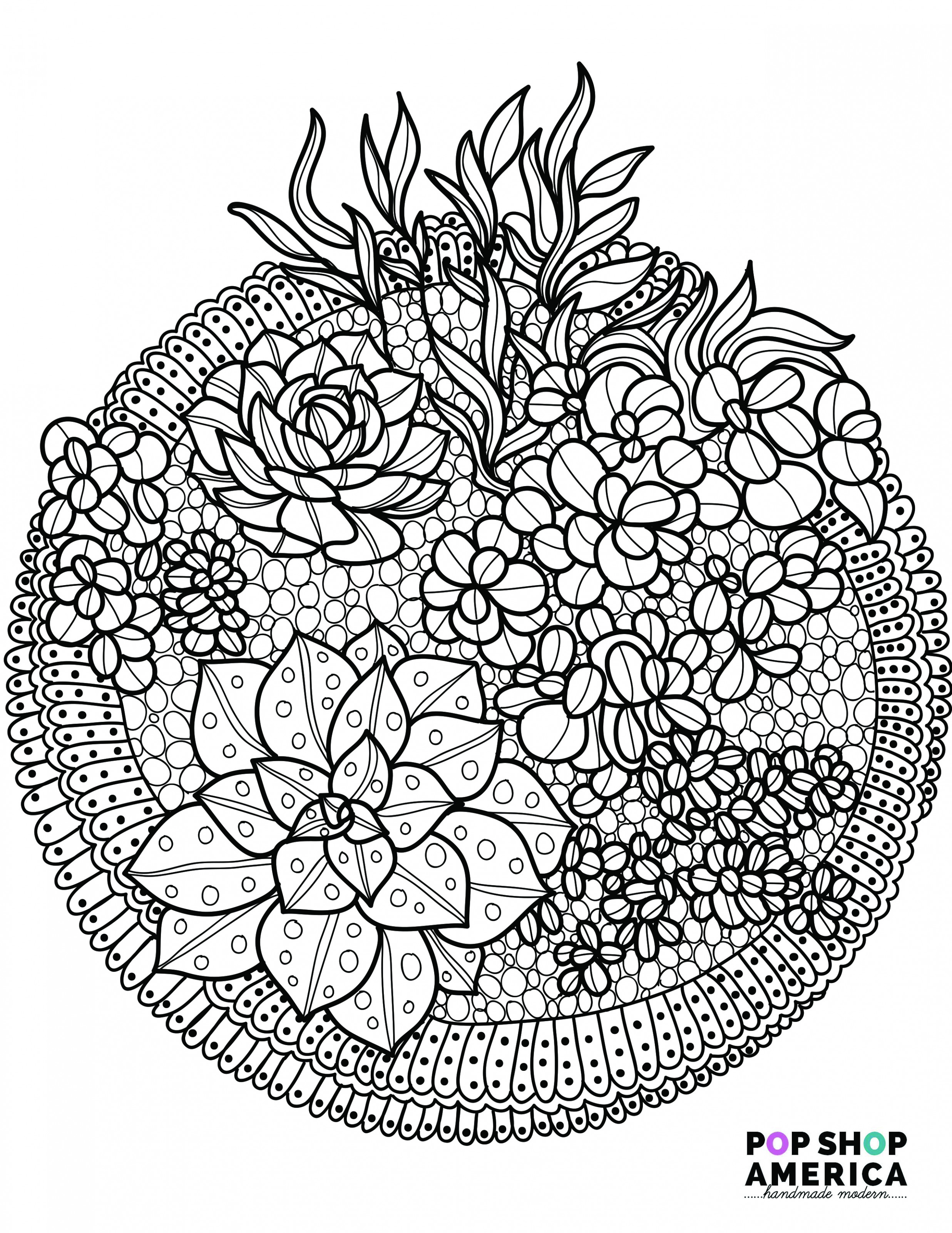 Free Adult Coloring Book Pages with Succulent Terrariums - is coloring book free