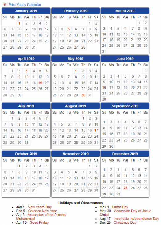 Free Blank Printable 18 Yearly Calendar with Indonesia Holidays ...