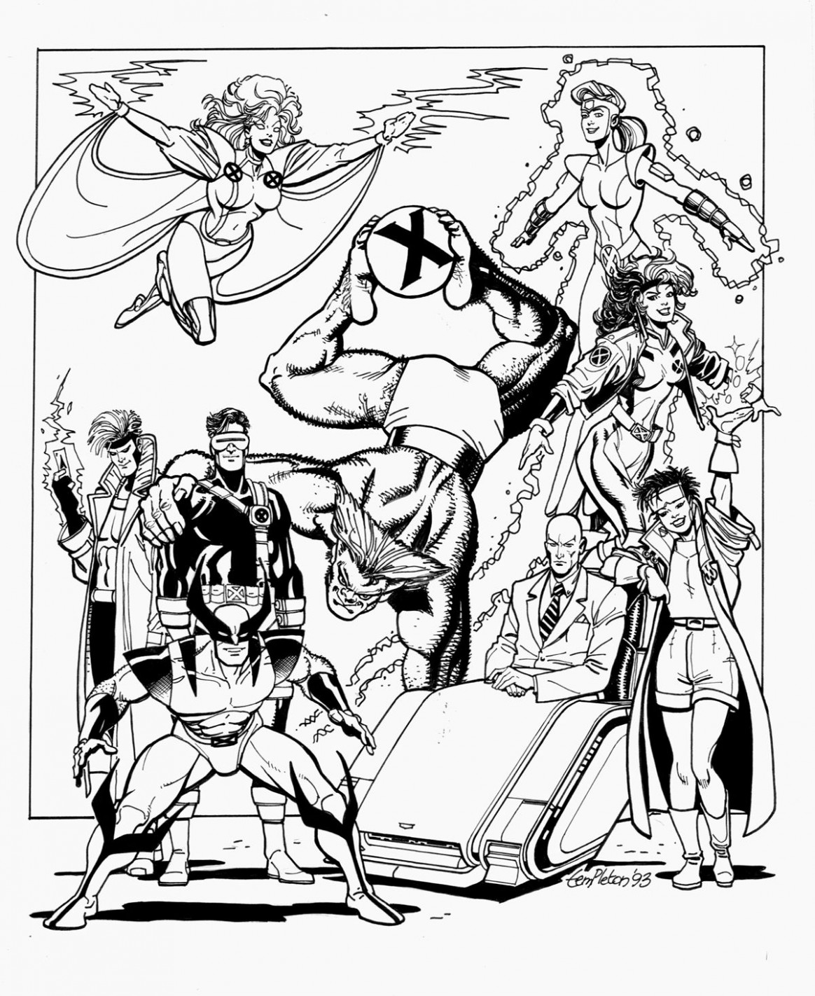 Free coloring page «coloring-adult-xmen». X-Men characters in an ..