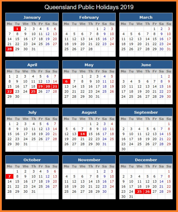 Free Editable School Holidays 14 Calendar QLD Queensland Qld ...