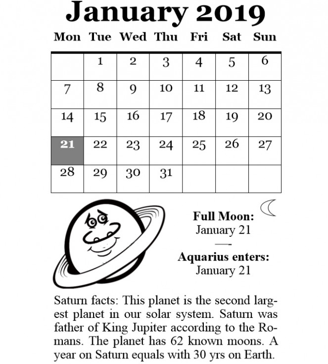 Free January 16 Moon Calendar Printable Templates | Professional ..