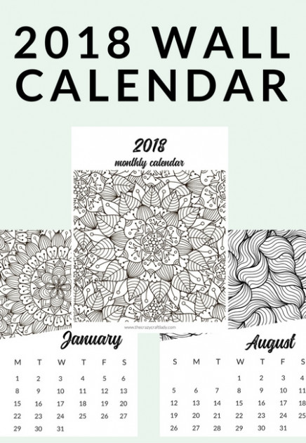 Free Printable 19 Adult Coloring Calendar – The Crazy Craft Lady – Free Printable Coloring Calendar 2019