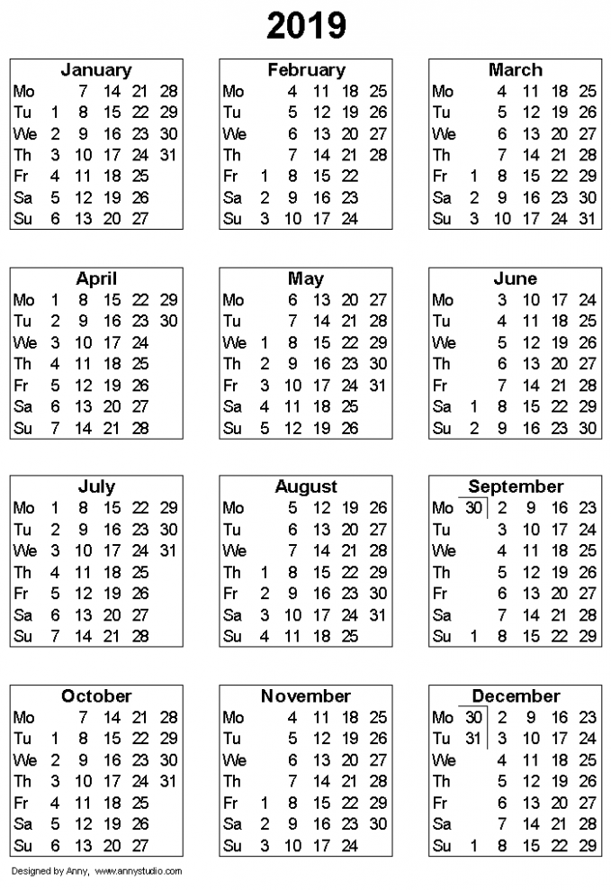 Free Printable Calendars and Planners 16, 16 and 16 – 2019 Full Year Calendar Template