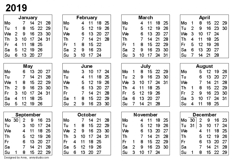 Free Printable Calendars and Planners 19, 19 and 19