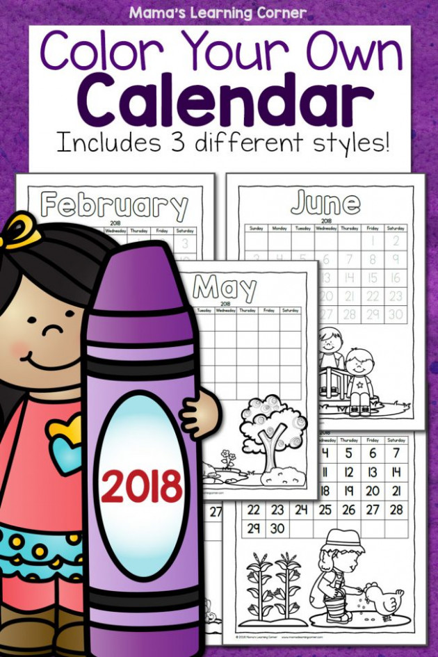 FREE Printable Color Your Own Calendar – Homeschool Giveaways – Free Printable Coloring Calendar 2019
