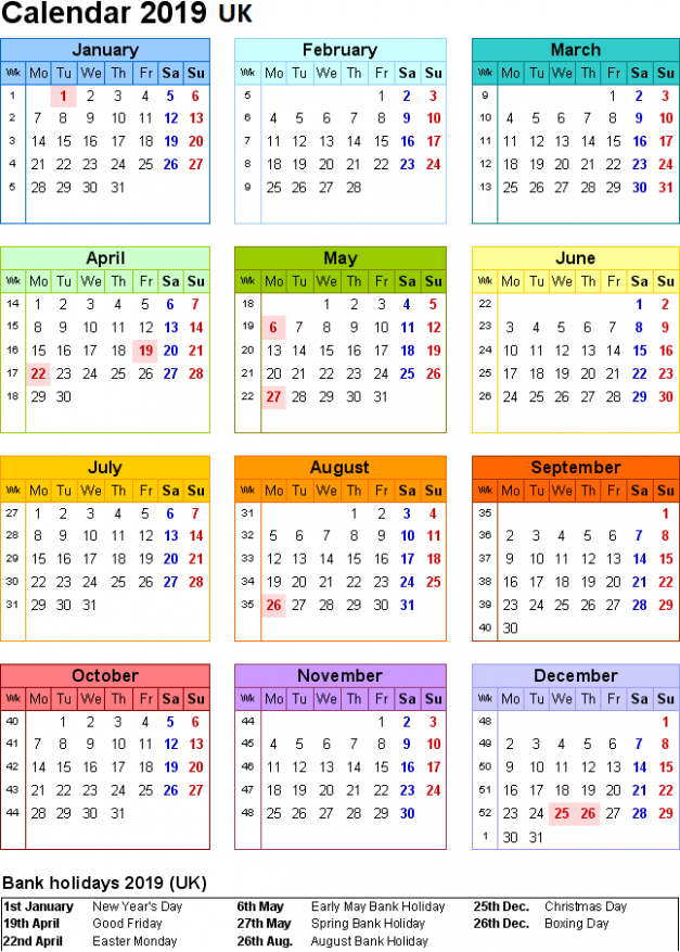 Free UK 16 Calendar PDF, Excel, Word Templates | Printable ..
