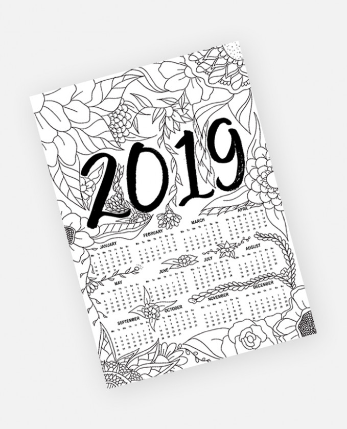 FREE Yearly 19 Calendar Floral Adult Coloring Page Instant Download - 2019 Coloring Calendar