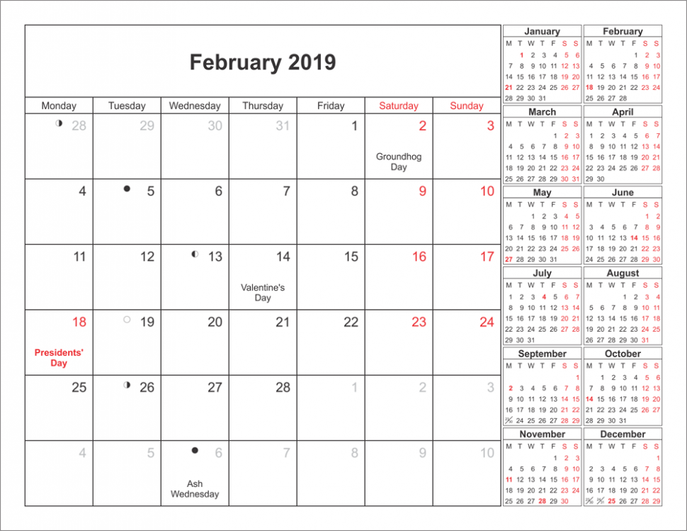 Get February Moon 16 Calendar Printable Templates | Printable ..