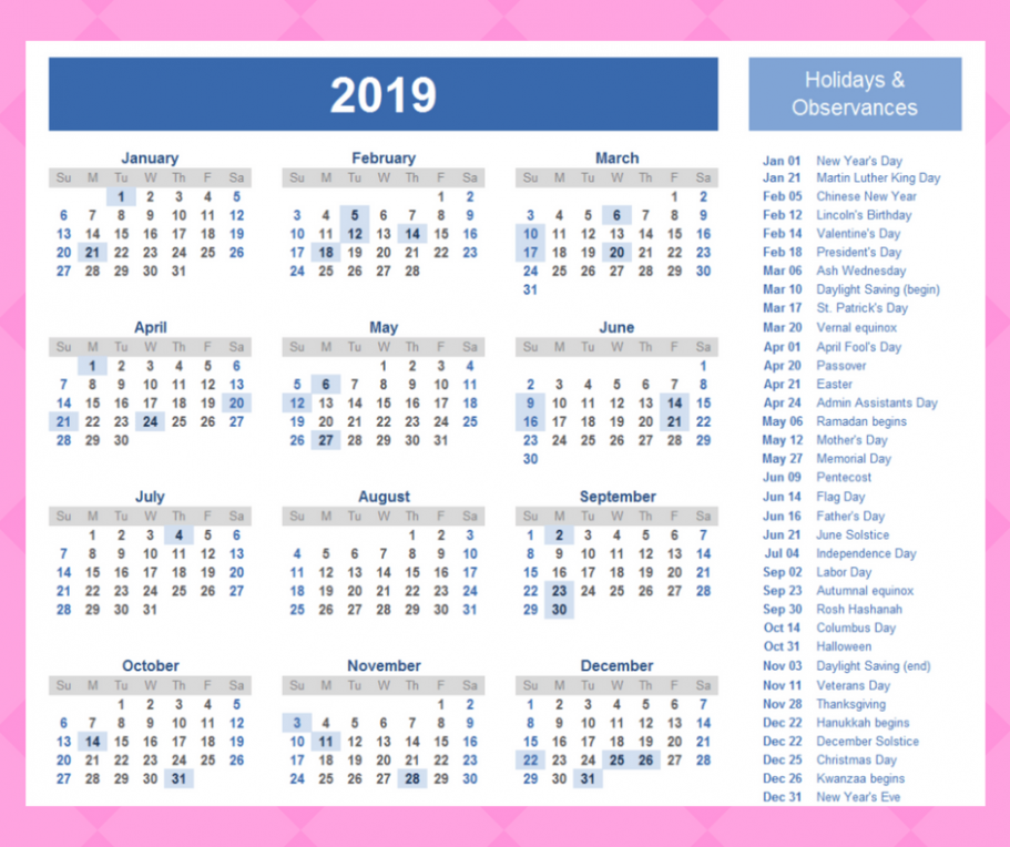 Get Free Printable Yearly Calendar 19 Template with QLD Holidays ...