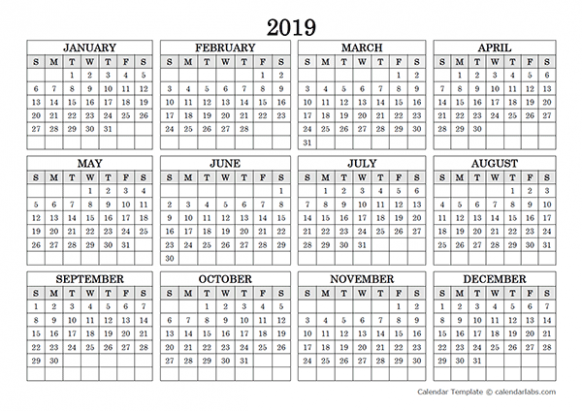 Get Free Yearly Printable 19 Calendar Excel Template | December ..
