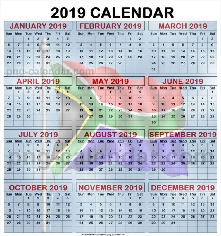 Holiday Calendar South Africa 20 -|- Ausreise Info – Year 2019 Calendar With Holidays