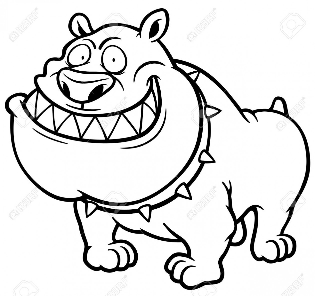 Illustration Of Angry Dog - Coloring Book Royalty Free Cliparts ...