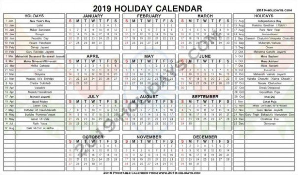 India19 19 Official Holidays | School, Bank – National Holidays JPG – Next Year Calendar 2019 India