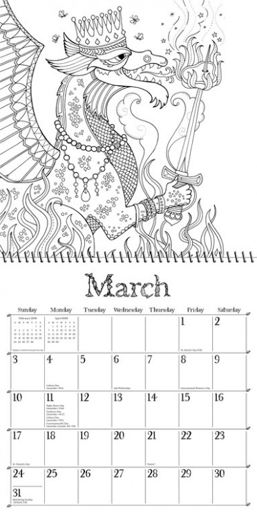 Ivy and the Inky Butterfly 19 Coloring Wall Calendar – 2019 Coloring Calendar