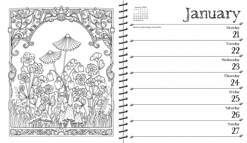 Johanna Basford 19-19 19-Month Coloring Weekly Planner Calendar ..