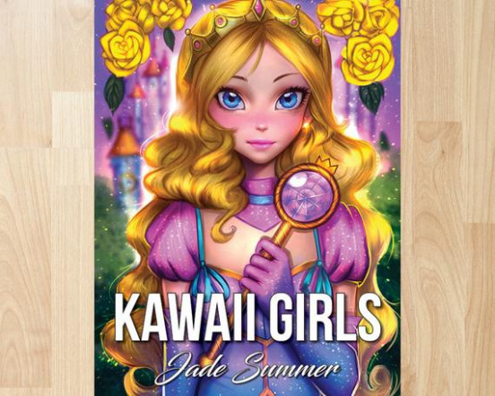 Kawaii Girls by Jade Summer Coloring Books Coloring Pages | Etsy