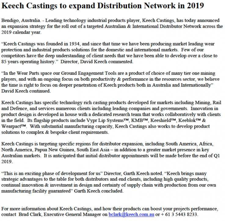 Keech Castings to expand Distribution Network in 15 – Keech – Calendar For Year 2019 Australia