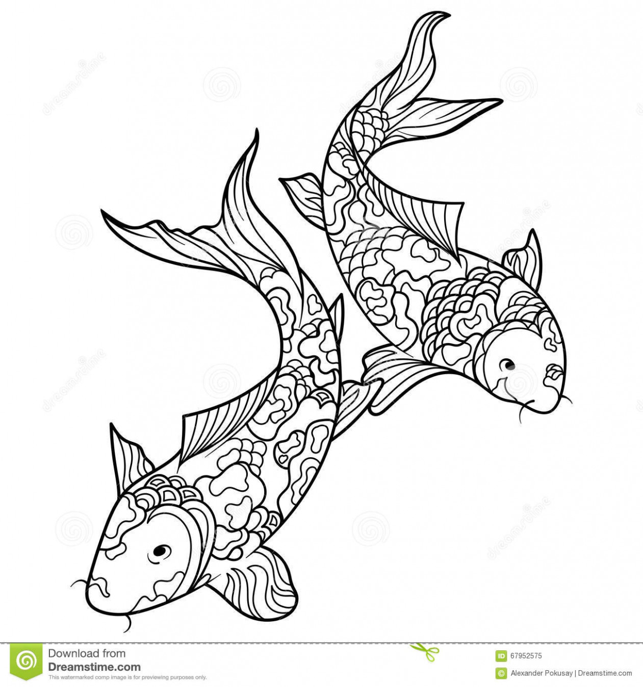 Koi Carp Fish Coloring Book For Adults Vector Stock Vector ..