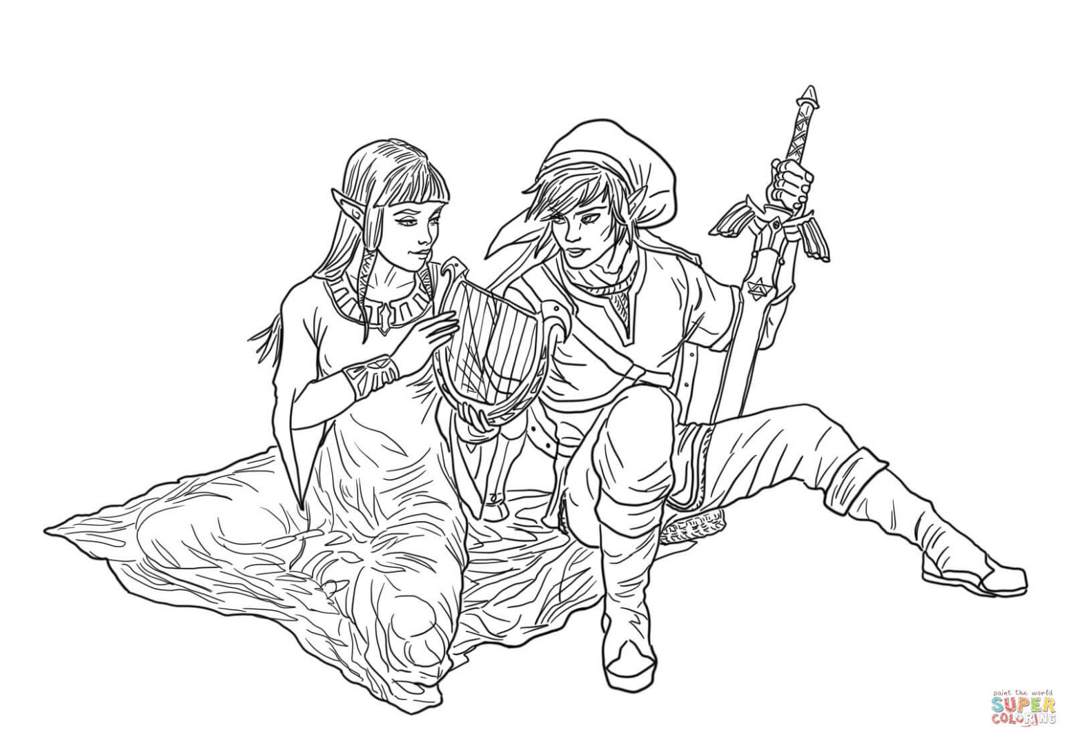 Link and Zelda coloring page | Free Printable Coloring Pages – zelda coloring book