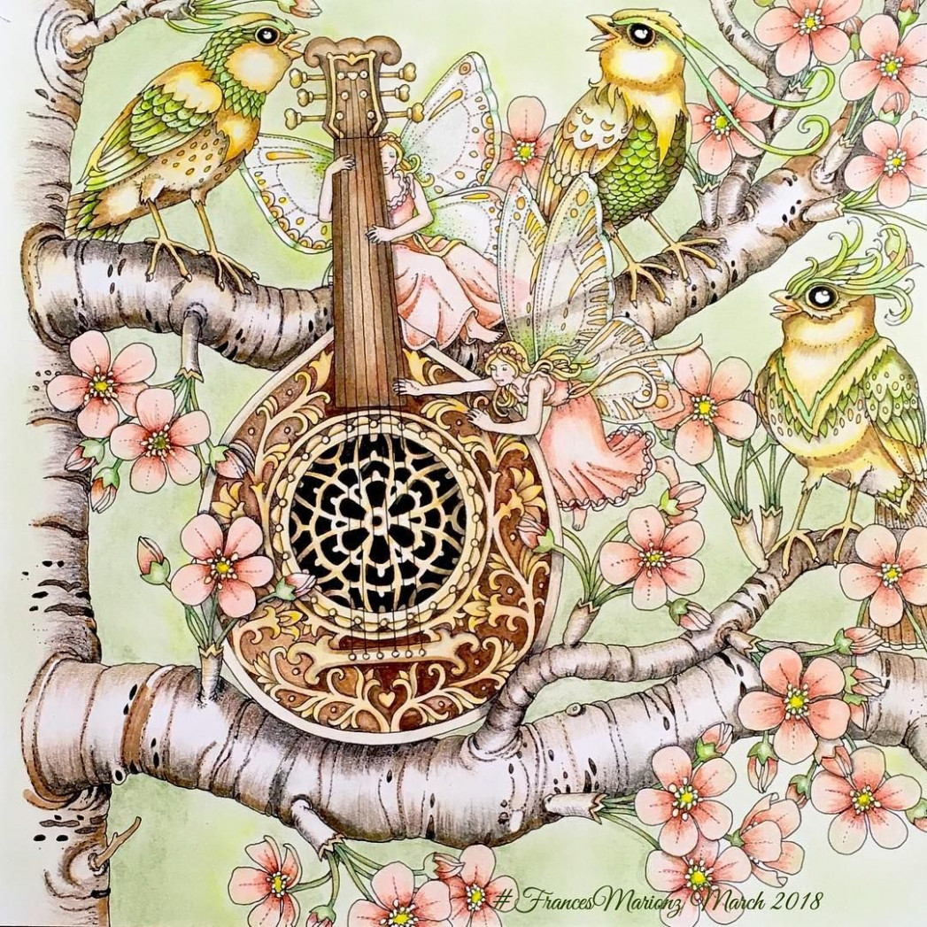 Mandolin Bird Song Vilin San Coloring Book by Tomislav Tomic ~ done ..