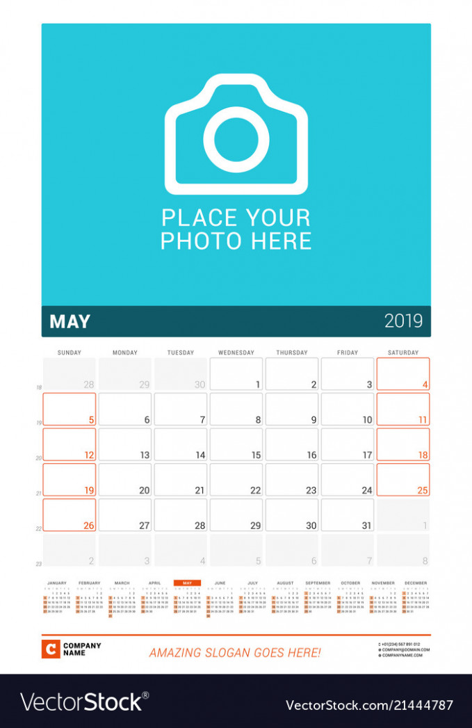 May 15 wall calendar for 15 year design print Vector Image – 2019 Year Wall Calendar