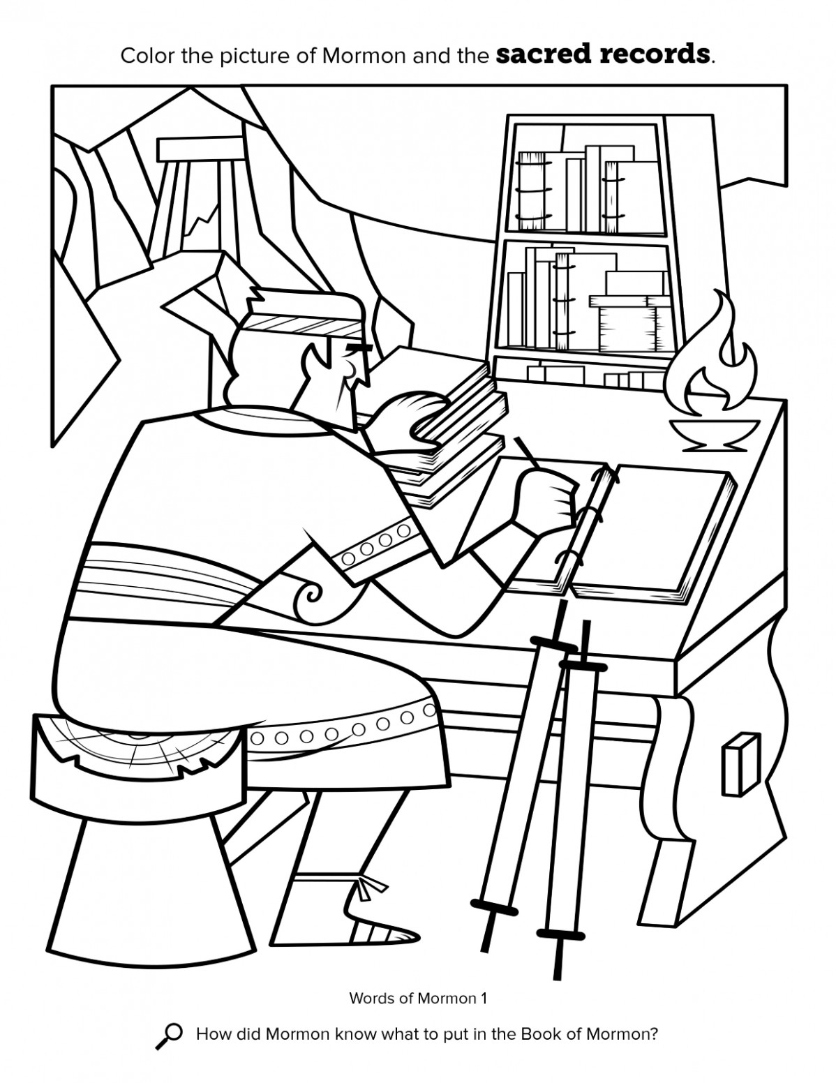 Mormon Compiles Sacred Writings – lds coloring book
