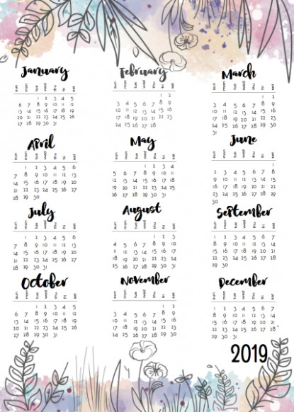 Musings of an Average Mom: 18 Year at a Glance - 2019 Year Calendar One Page