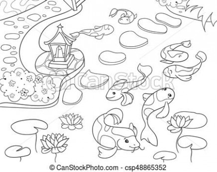 Nature of japan coloring book for children cartoon. japanese garden ..