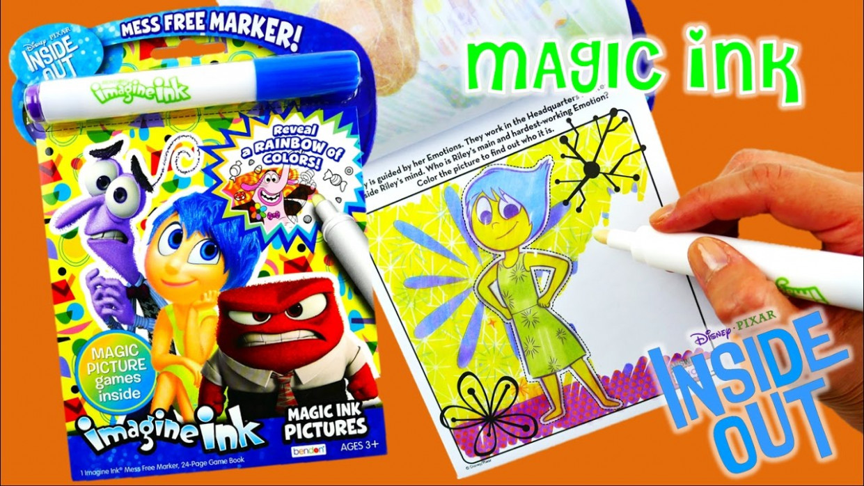 NEW Disney Inside Out Imagine Ink Coloring Book Rainbow Color Pen ..