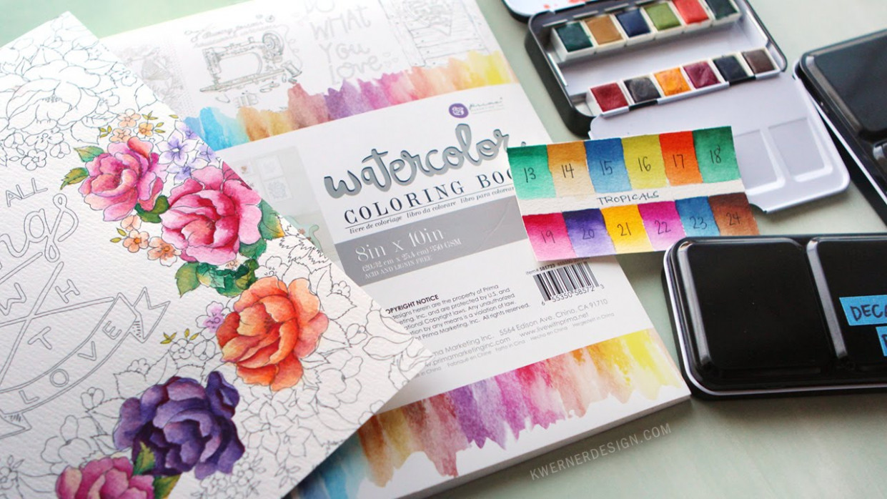 New Watercolor Pan Sets from Prima  – watercolor coloring book