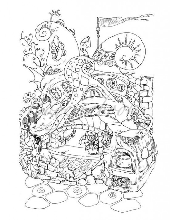 Nice Little Town 20 (Adult Coloring Book, Coloring pages PDF ..