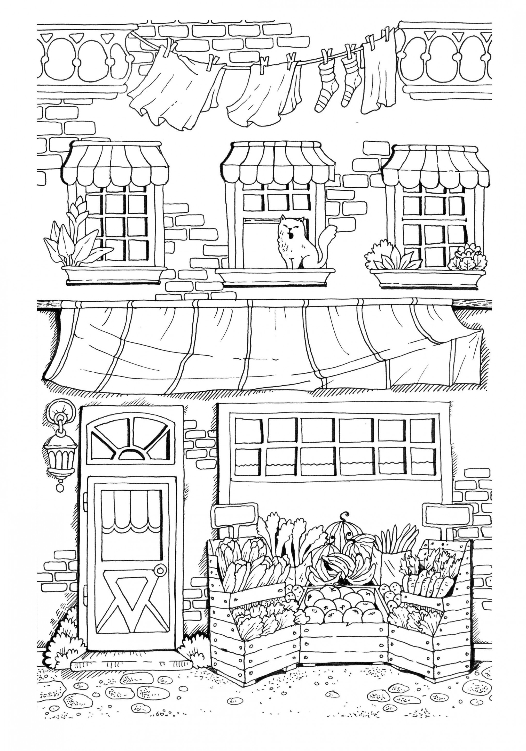 Nice Little Town (Adult Coloring Book, PDF, Digital Pages, For ..