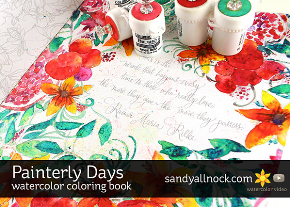 Painterly Days Watercolor Coloring Book | Sandy Allnock – watercolor coloring book