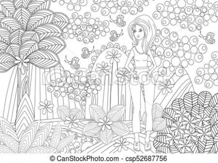 Pretty girl in fantasy forest for coloring book.