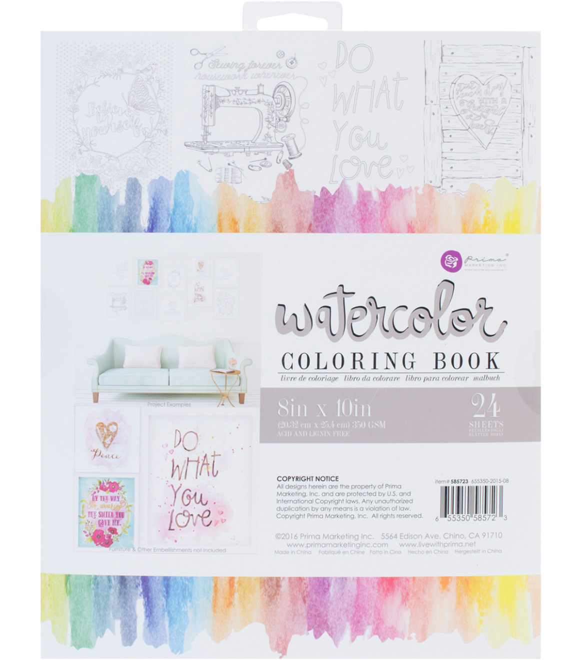 "Prima Marketing 15 Sheets 15""x15"" Watercolor Coloring Book-Decor .."