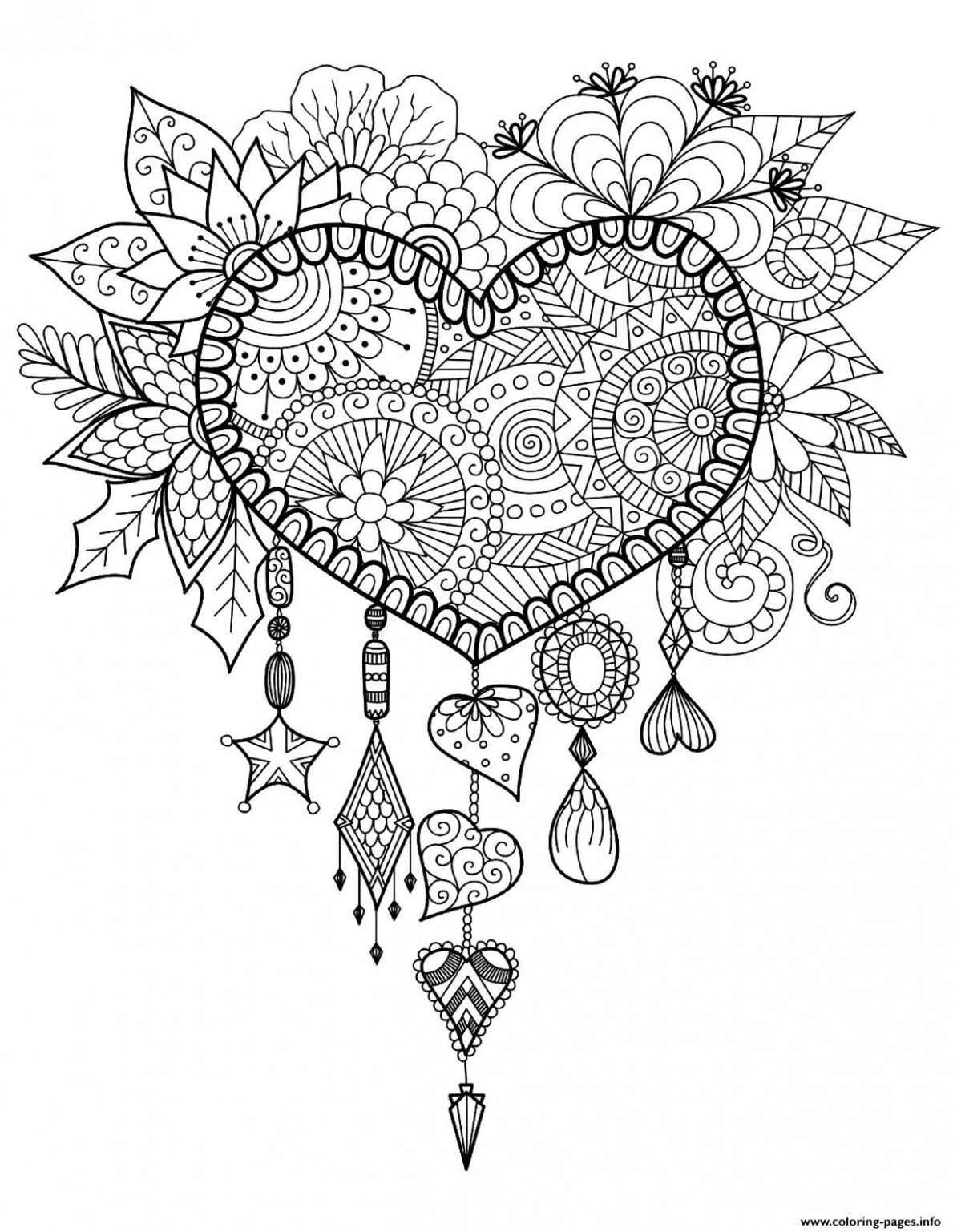 Print adult dreams catcher heart mandala zen coloring pages ..