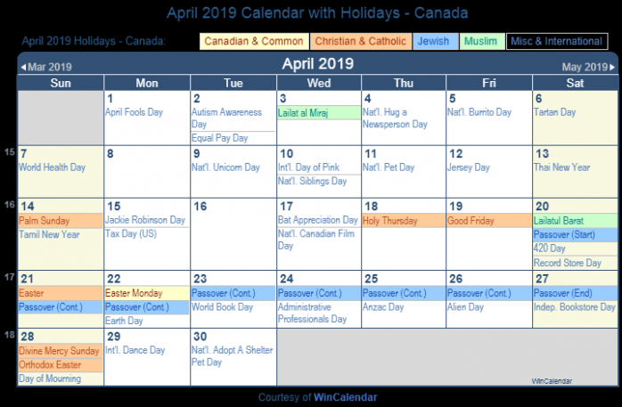 Print Friendly April 17 Canada Calendar for printing – Tamil New Year 2019 Calendar