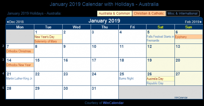 Print Friendly January 19 Australia Calendar for printing – Year 2019 Calendar Australia