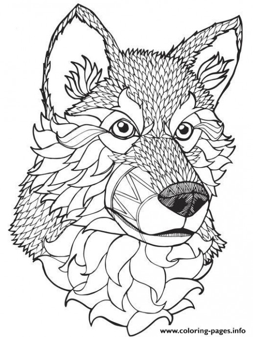 Print high quality wolf mandala adult coloring pages … | pages to ..