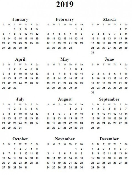 Printable Calendar Year 20 Free Printable 20 Yearly Calendar ..