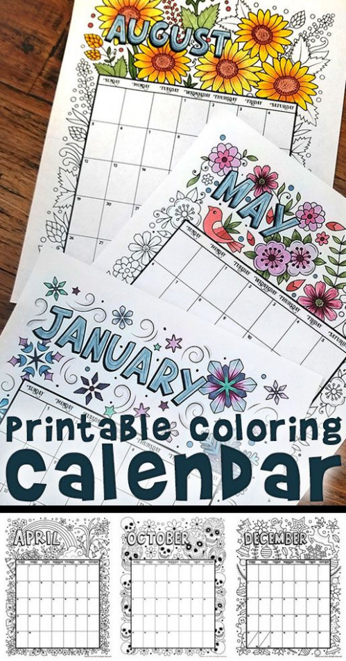 Printable Coloring Calendar for 19 (and 19!) | Household Planner ...