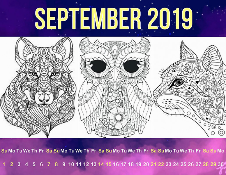 Printable Coloring Calendars for 17 | Free JPEG Templates