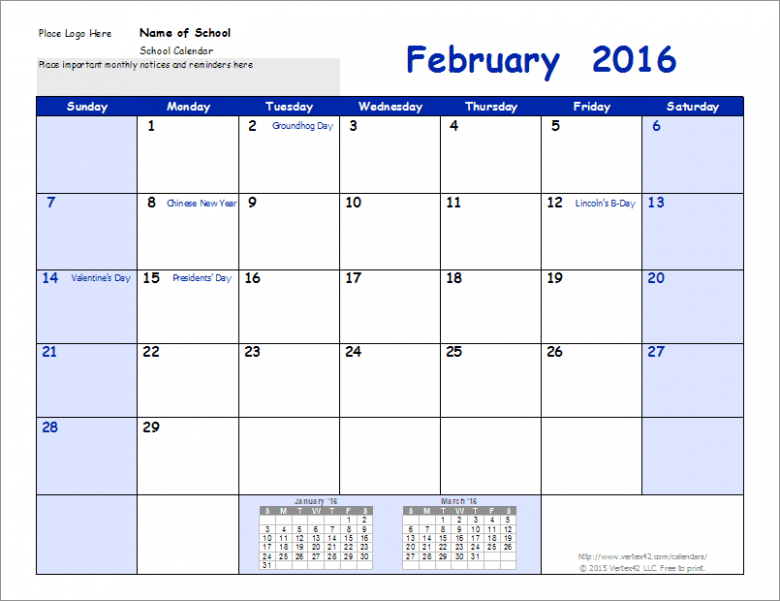 School Calendar Template – 14-14 School Year Calendar – Year To View Calendar 2019