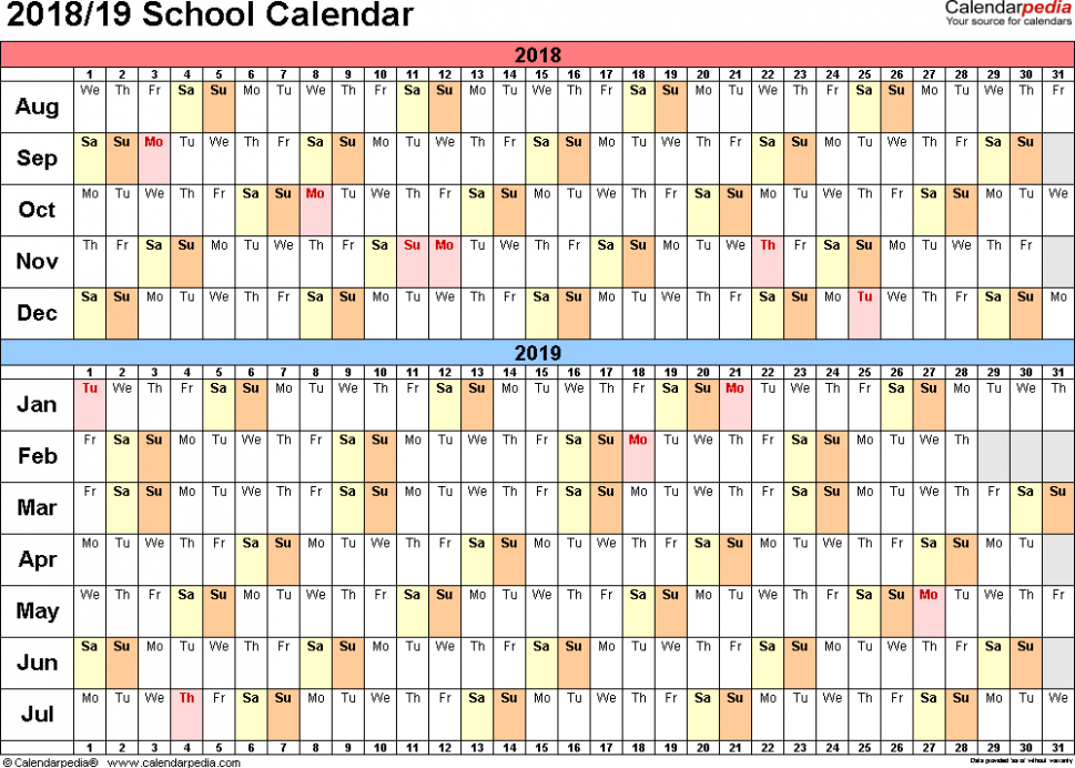 School calendars 16/16 as free printable Word templates – 2019 Year Calendar Word