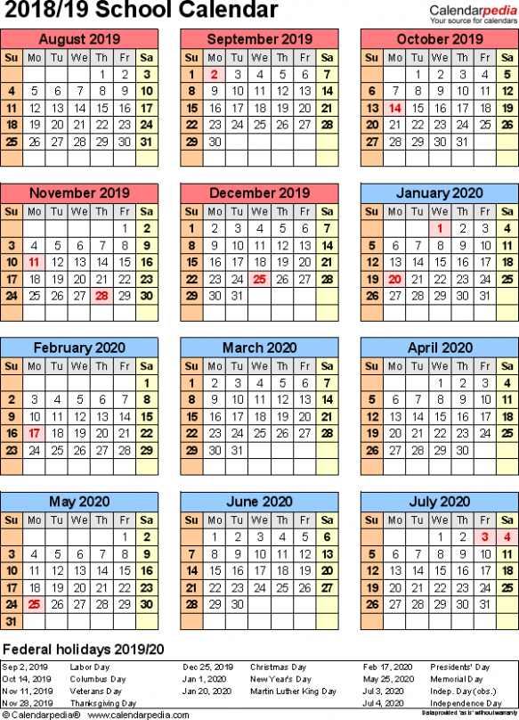 School calendars 18/18 as free printable PDF templates – Calendar For Year 2019 Qatar